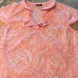 Talbots summer top with pretty ruffles size med